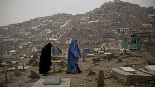 Afghan women in cementary